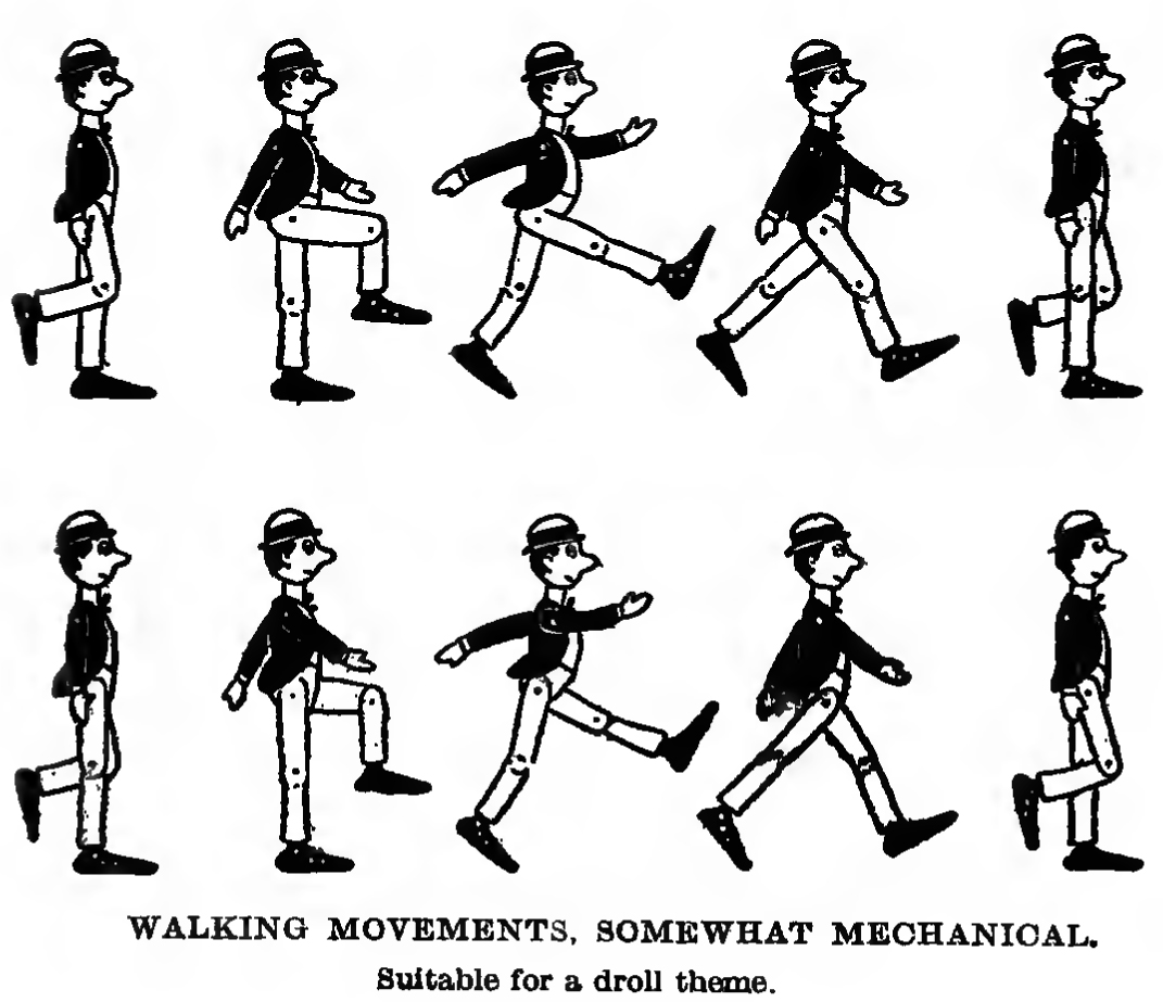 how to draw a robot walking or a mechanical figure walking