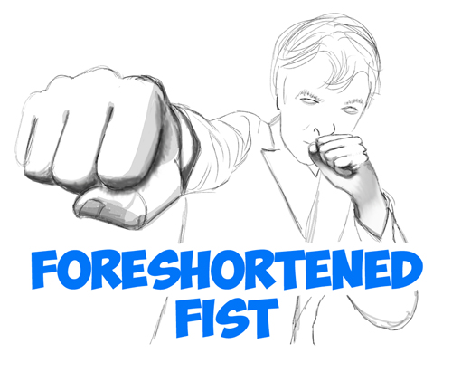 how to draw the foreshortened figure fists and hands