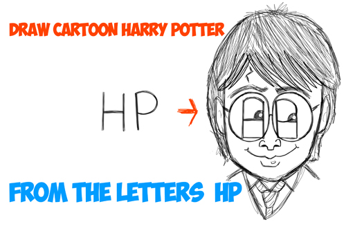 how to draw cartoon harry potter from the letters 'HP'