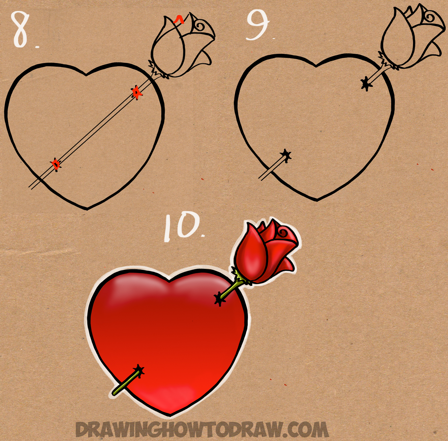 drawing heart and rose - simple step by step drawing lesson