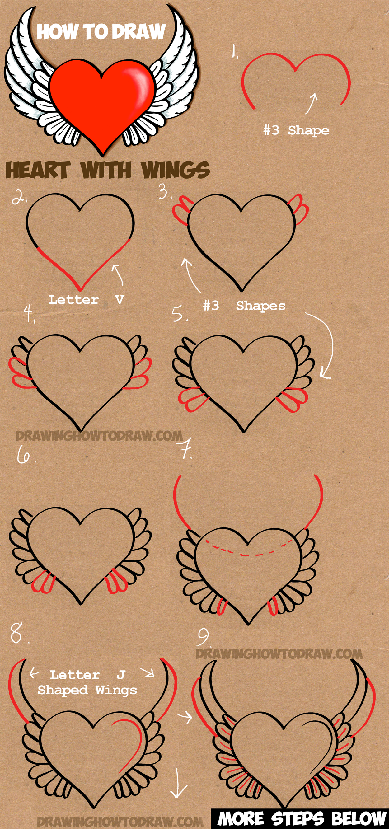 How To Draw A Heart With Wings Easy Step By Step Drawing