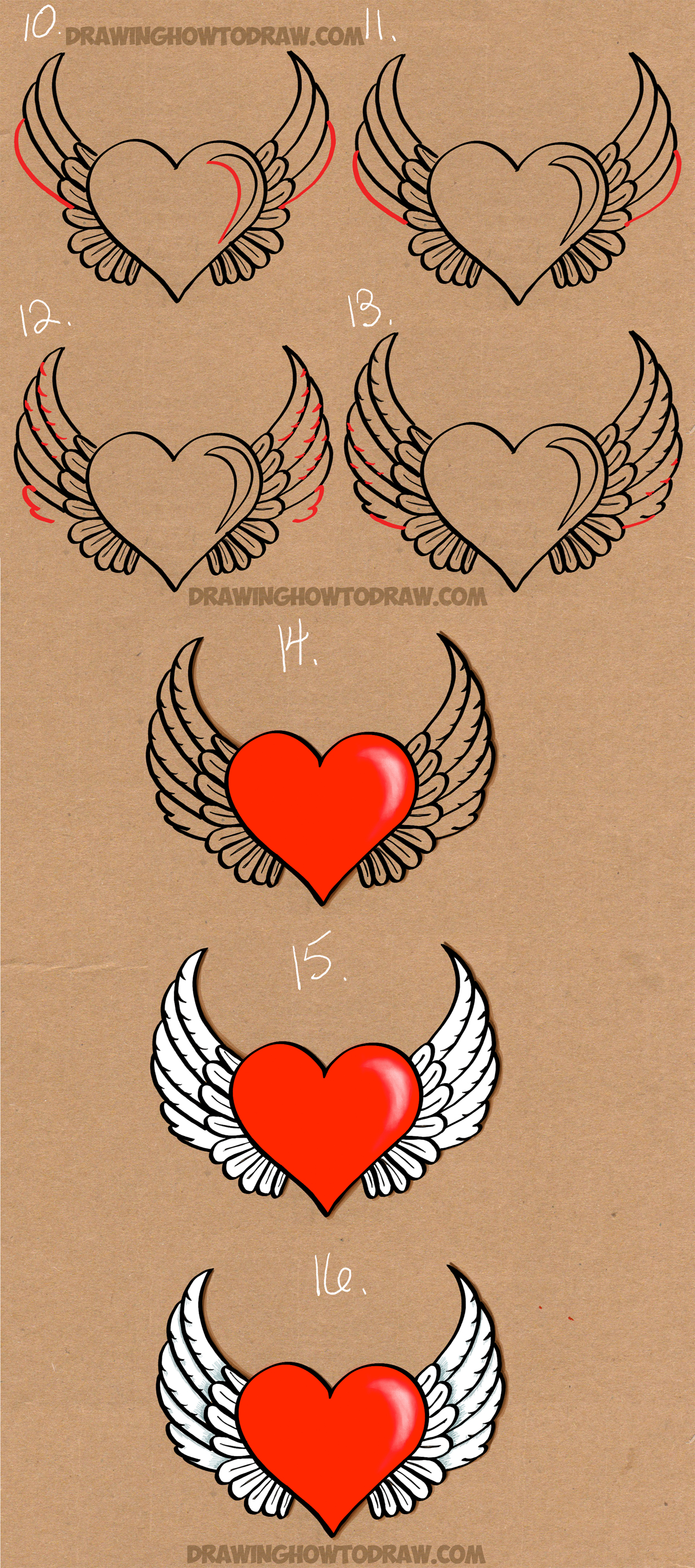 How To Draw A Heart With Wings Easy Step By Step Drawing Tutorial