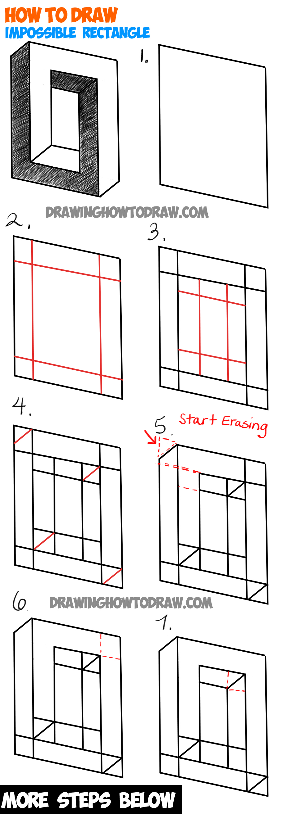 How to draw an impossible square or rectangle easy step for How to draw things step by step