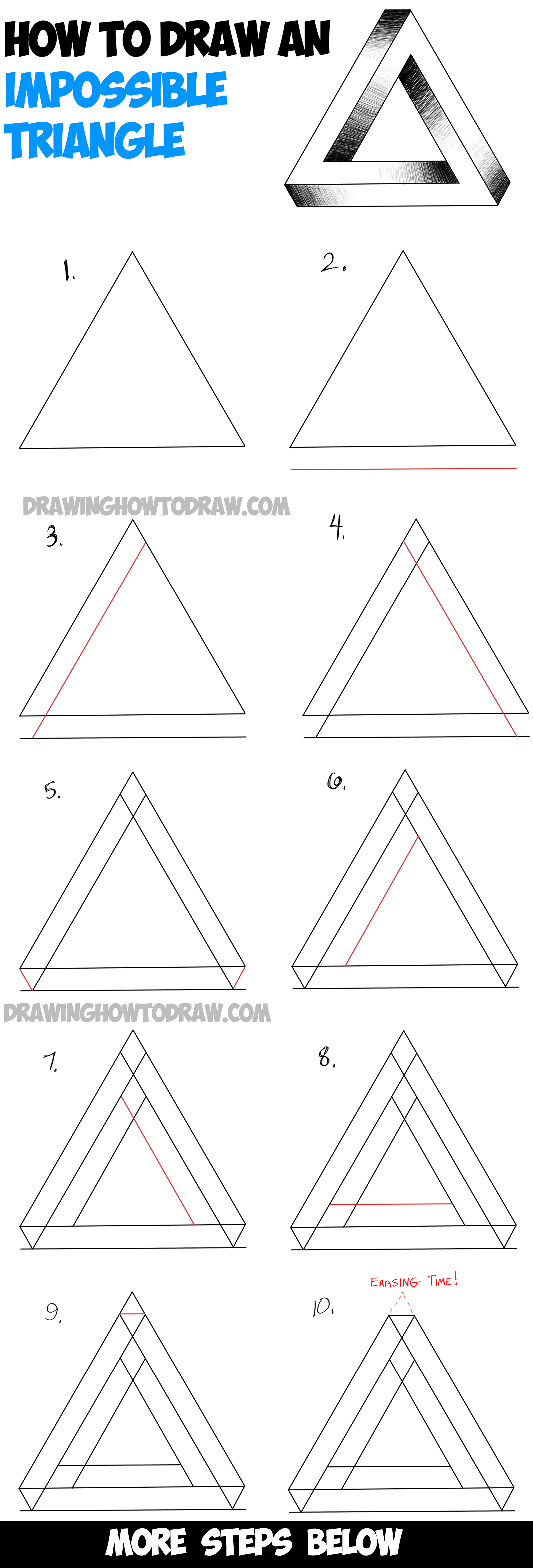 How To Draw An Impossible Triangle Easy Step By Step Drawing