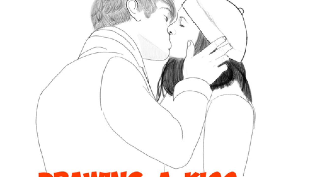 How to draw romantic kisses between two lovers step by