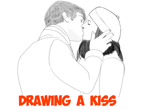 how to draw a romantic kiss between two people kissing