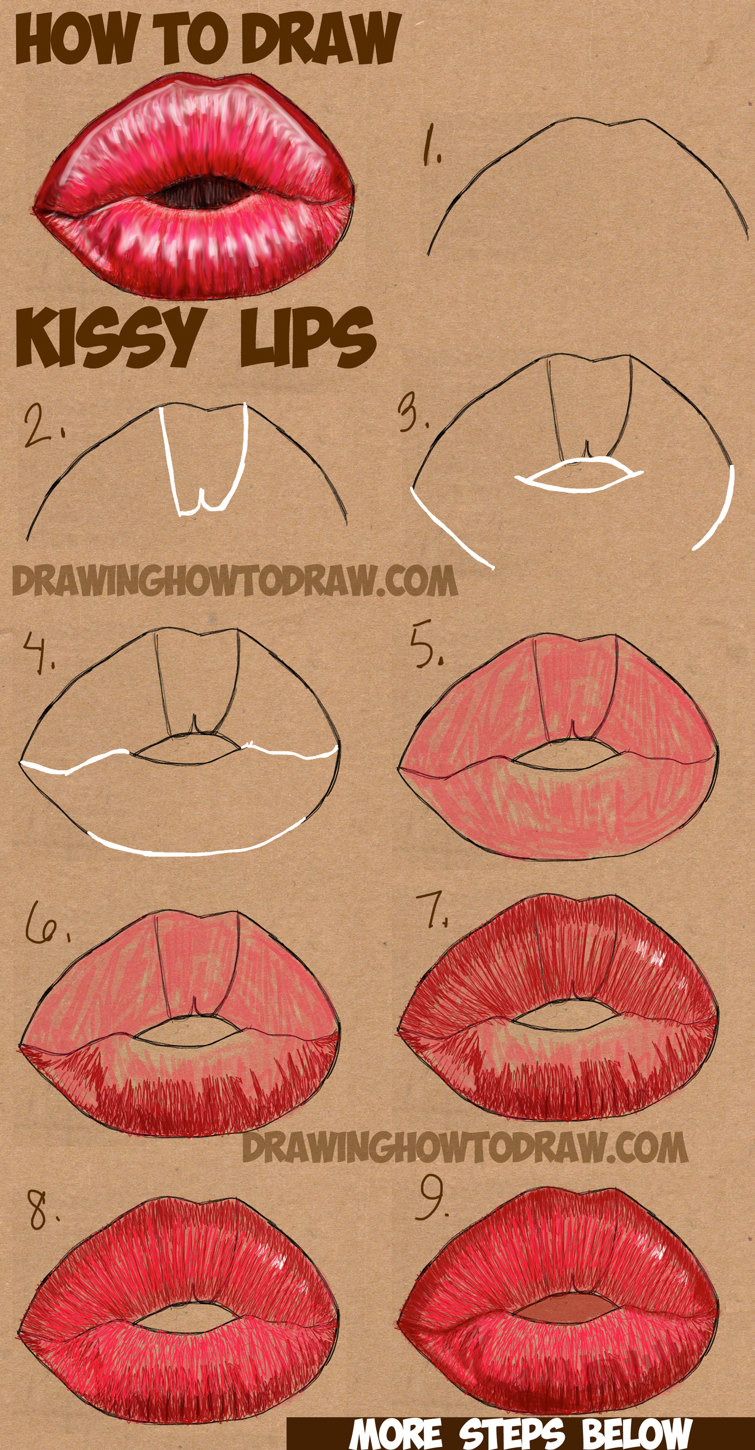 How To Draw Kissy Kissing Puckering Sexy Lips How To Draw Step By Step Drawing Tutorials