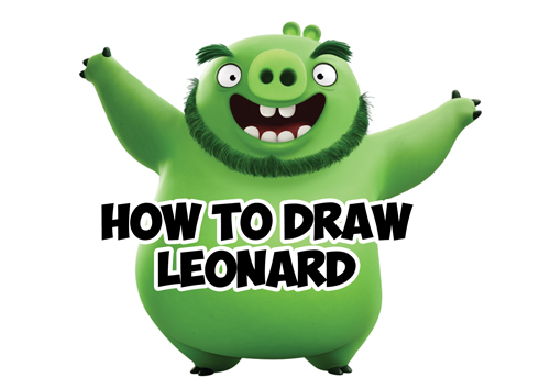 how to draw leonard the pig from angry birds movie