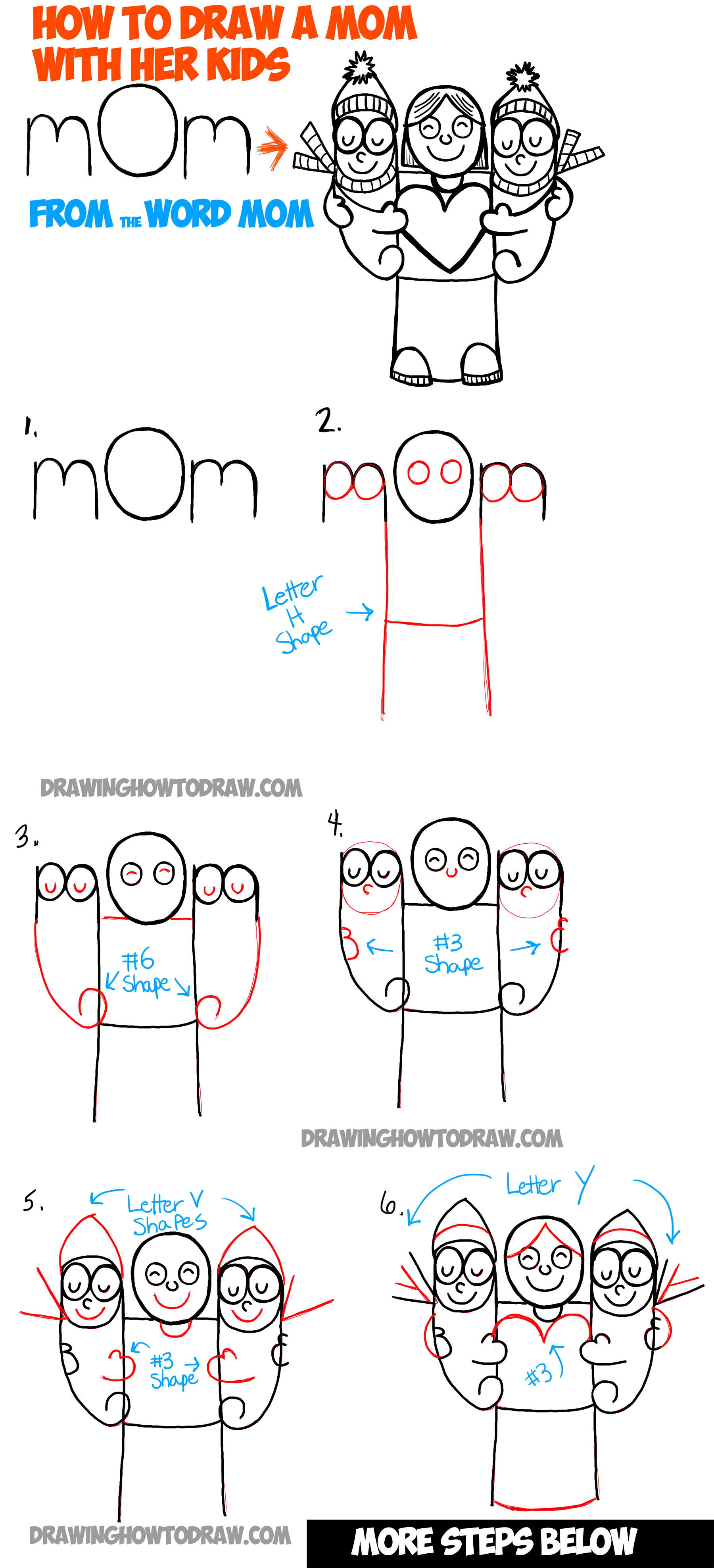 How to draw cartoon mom and kids from the word mom easy drawing how to draw cartoon mom and kids from the word mom simple step by step biocorpaavc Choice Image