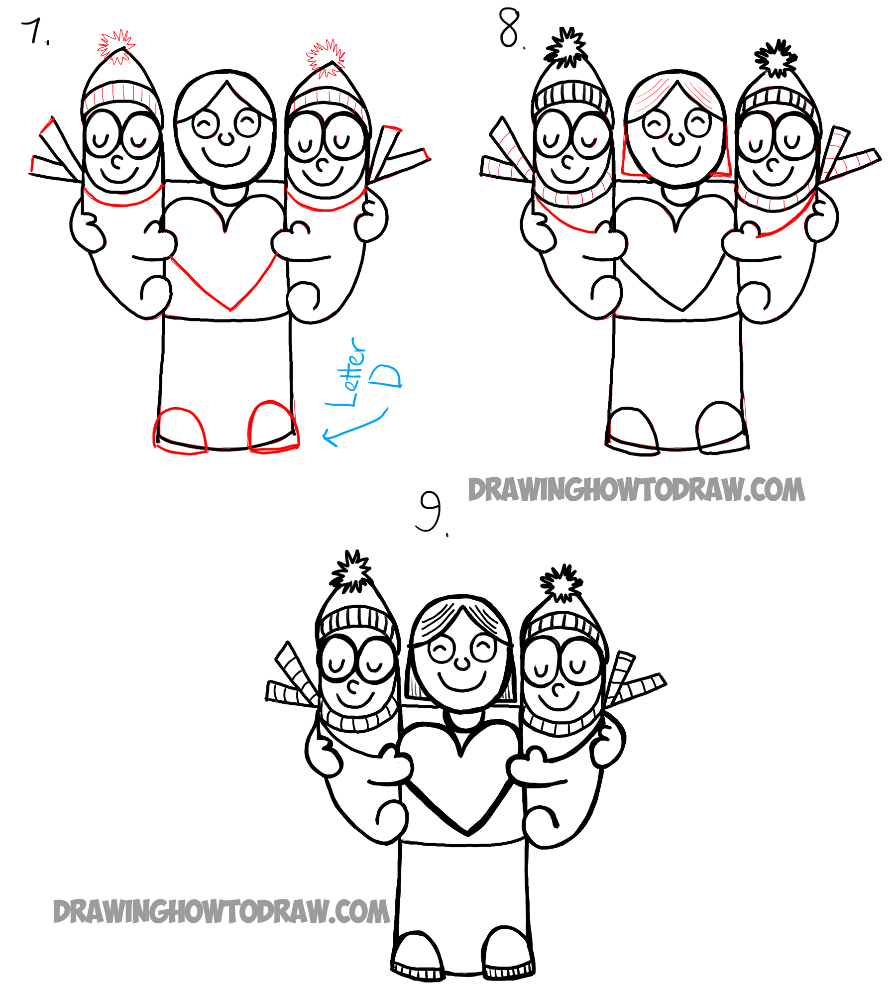 Learn How To Draw Cartoon Mom And Kids Simple Steps Word Toons Tutorial