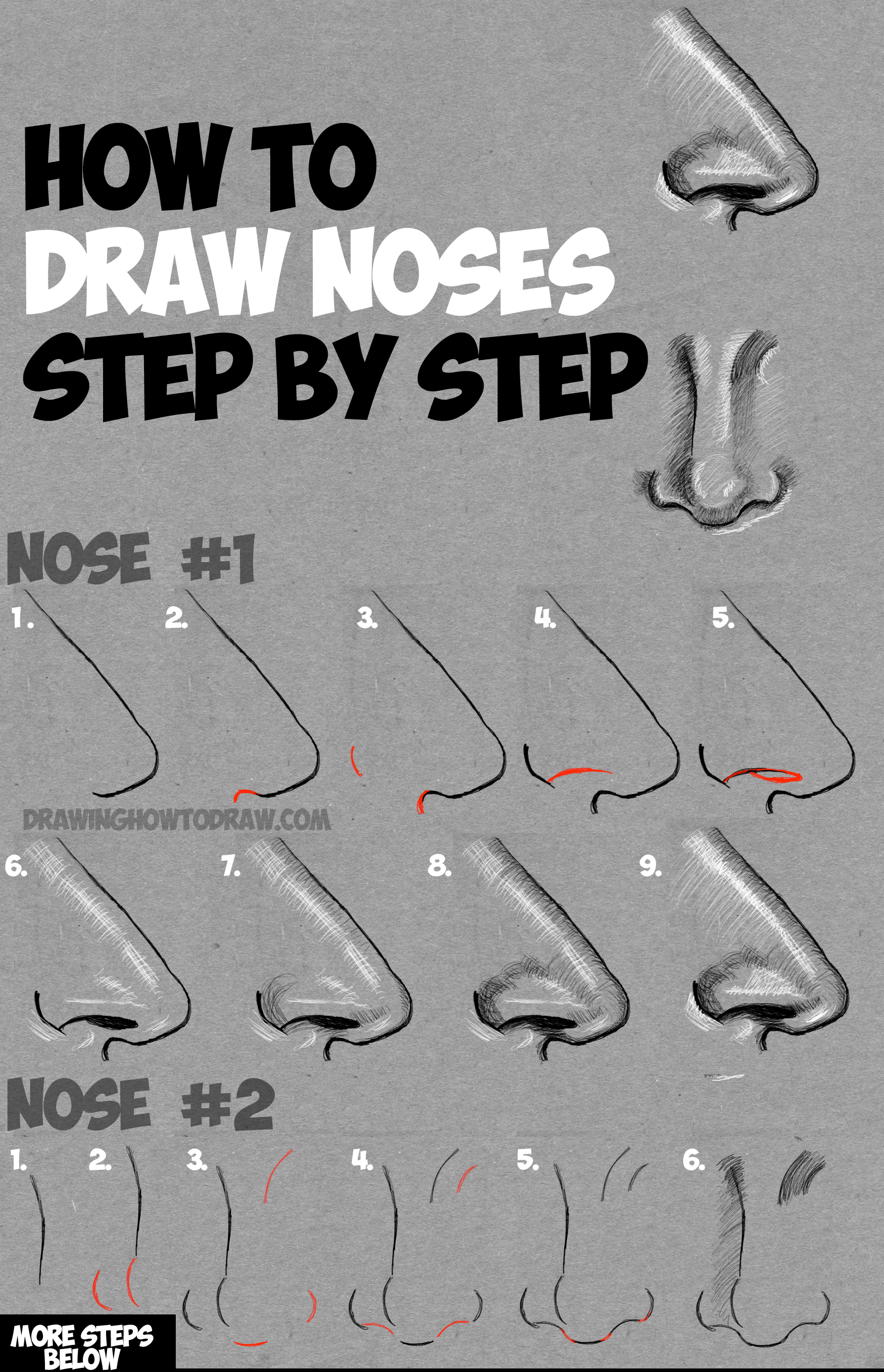 Learn How to Draw & Shade Noses from the Side and Front View : Drawing and Shading Noses Tutorial