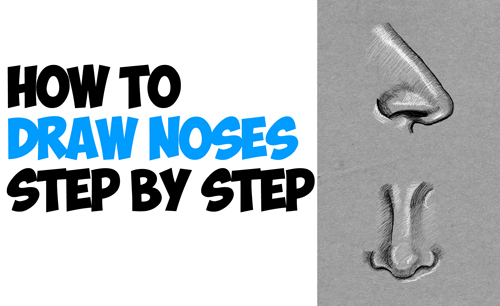 drawing noses in easy step by step drawing lesson side and front