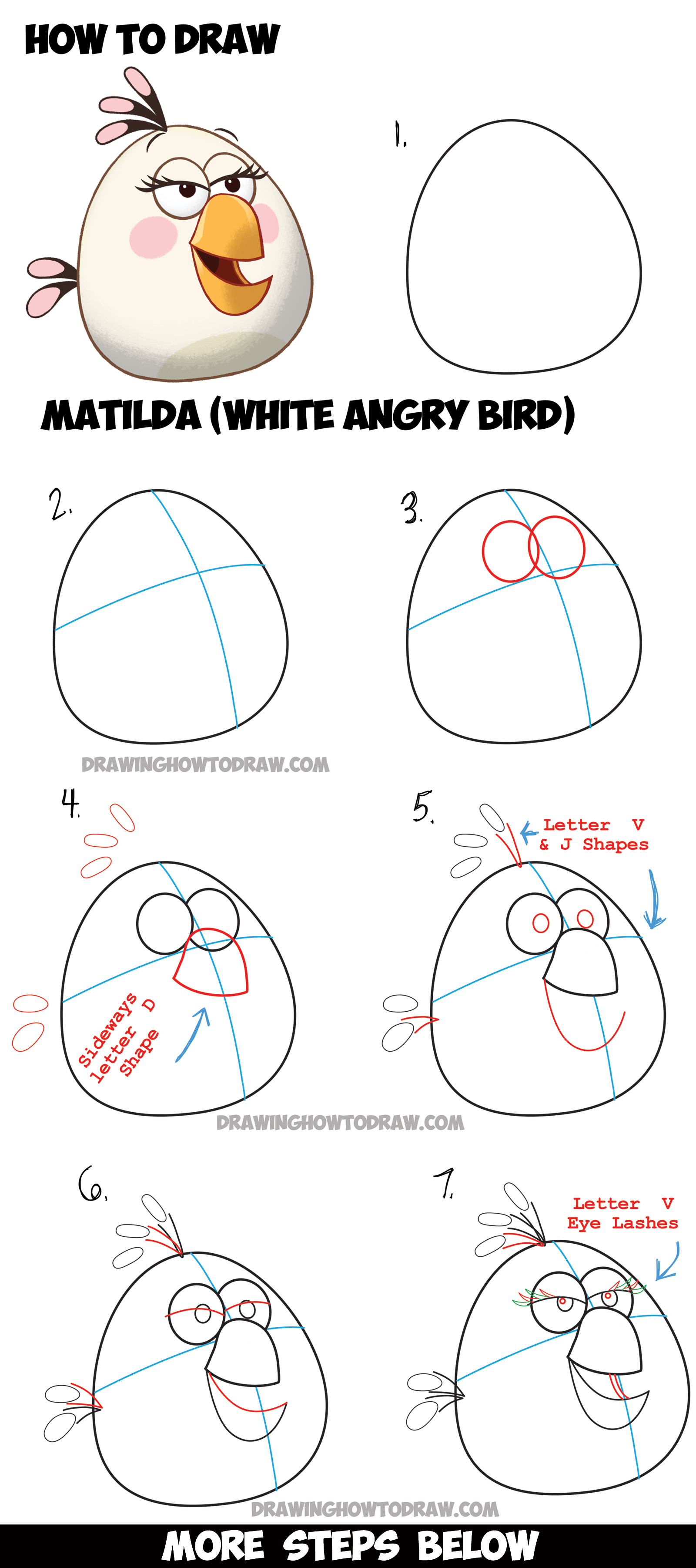 Angry bird characters archives how to draw step by step for Learn drawing online step by step