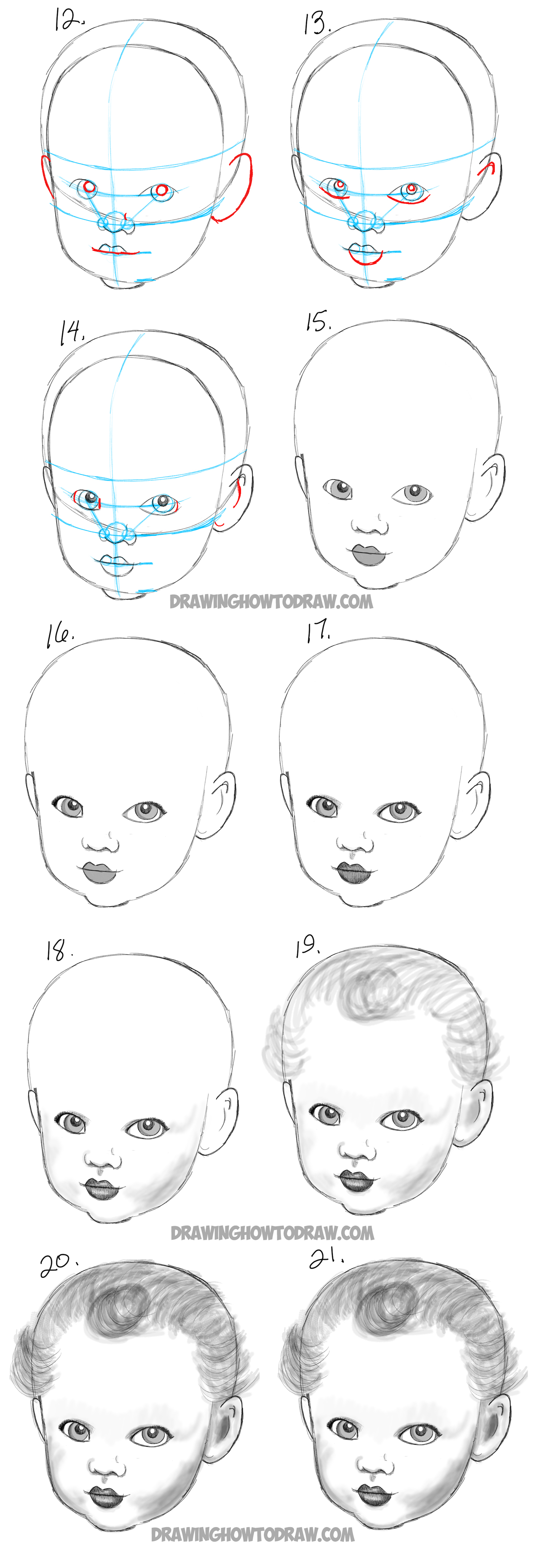 drawing babies babys faces and heads
