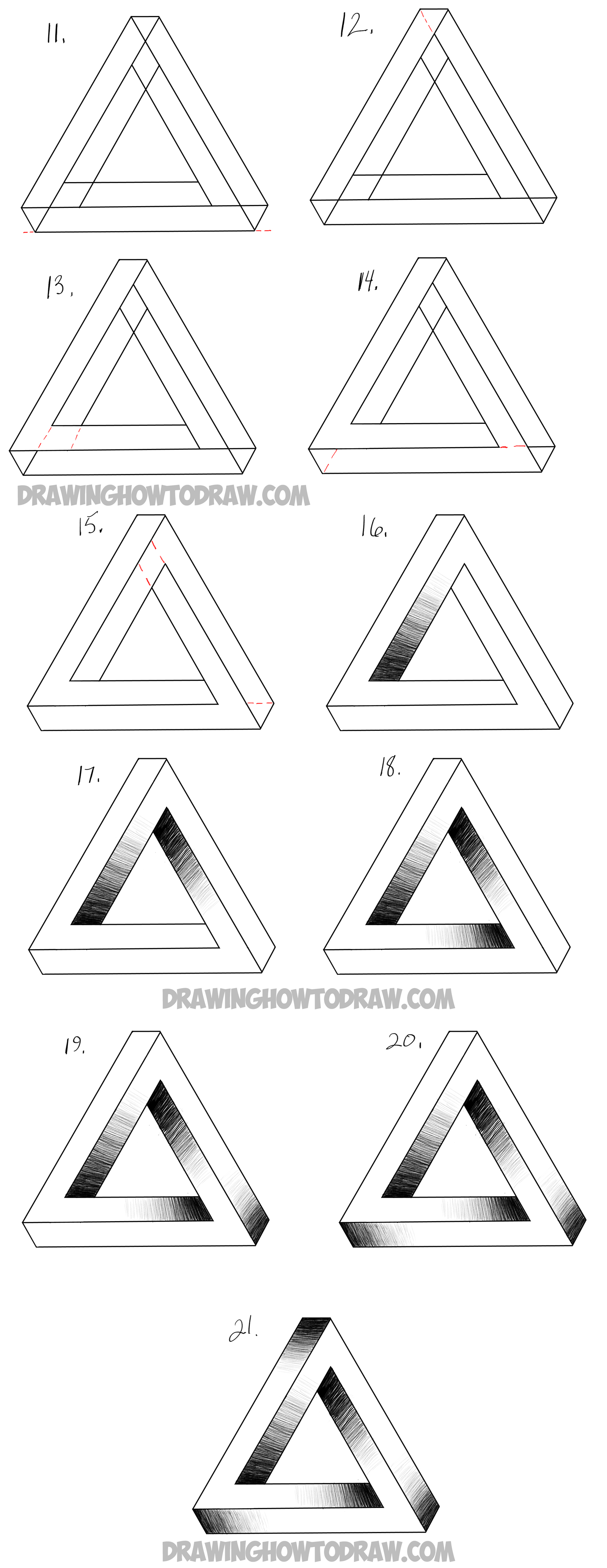 How to draw an impossible triangle easy step by step for Things to sketch step by step