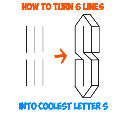 Learn How To Turn 6 Lines Into The Coolest Letter S Easy Step By