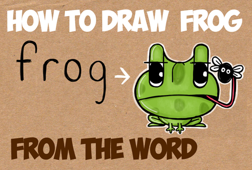 learn how to draw cartoon frogs simple step by step word toons lesson for kids