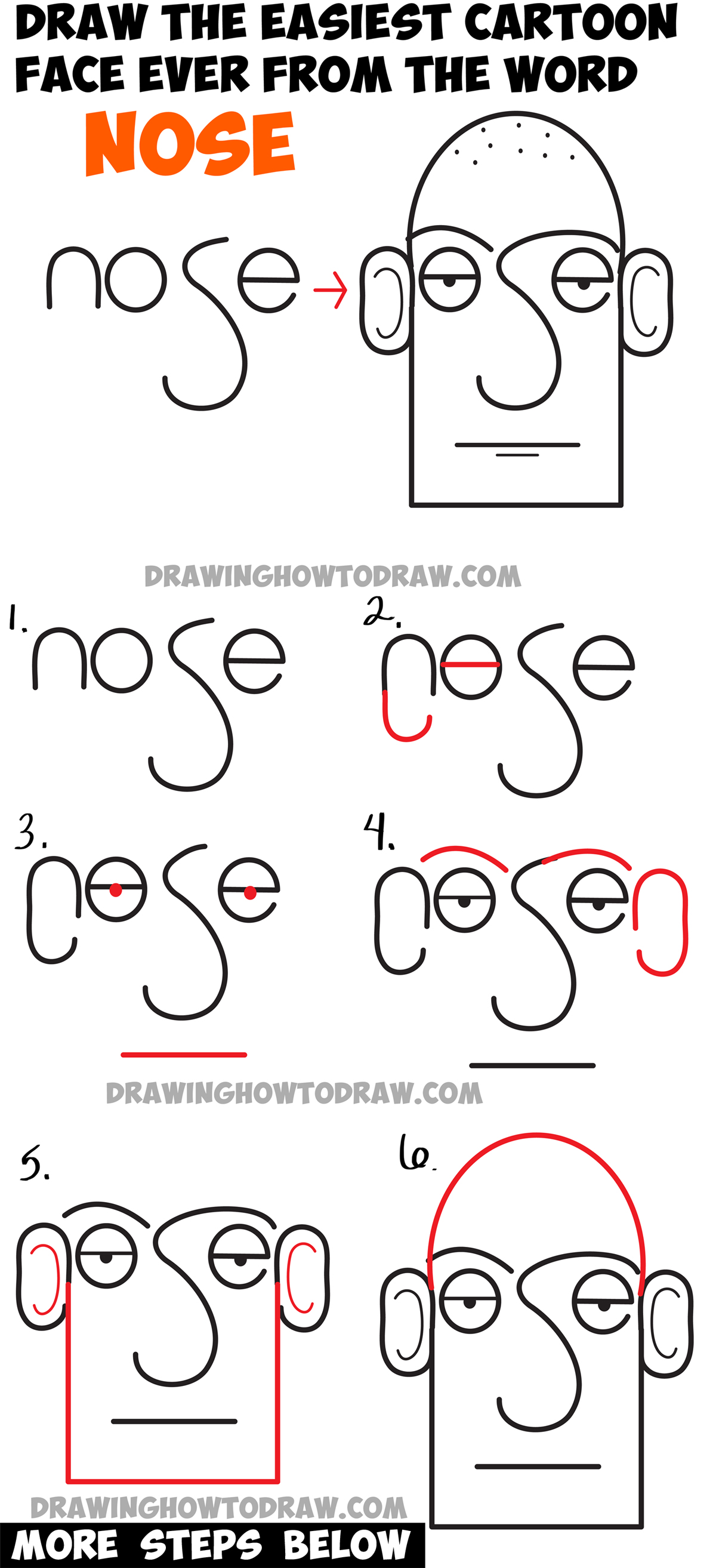 How to draw a cartoon face in easiest way ever from the for Learn drawing online step by step