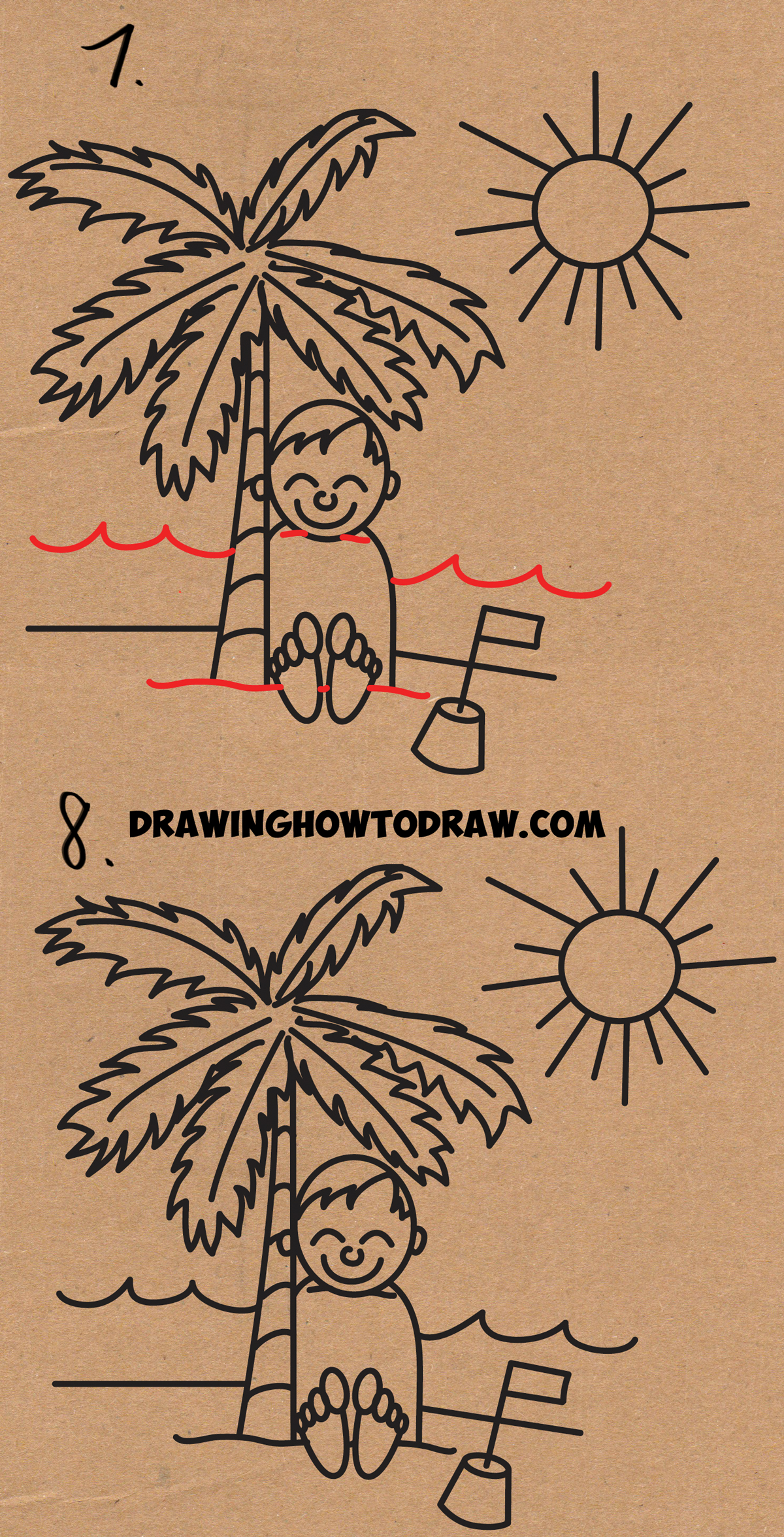 Learn how to draw a cartoon boy buried in the sand at the beach word toons