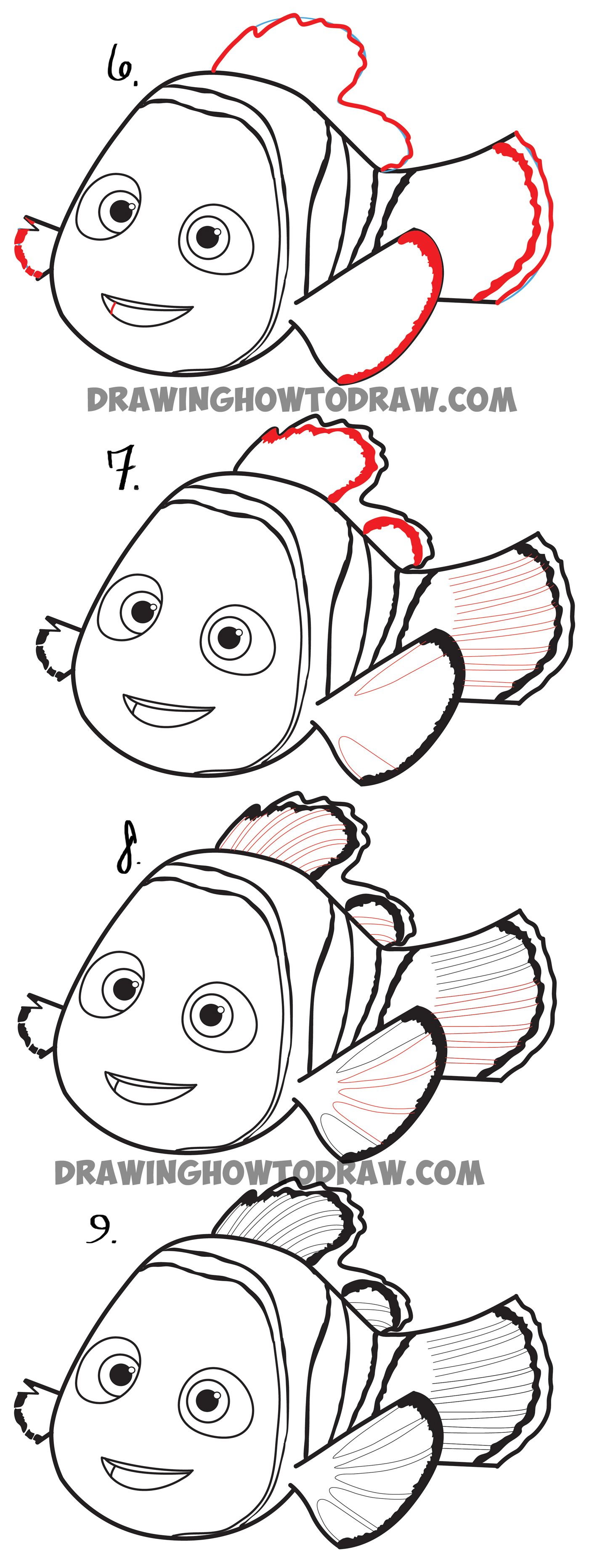 How to draw Nemo from Finding Dory Movie - Simple Step by Step Drawing Tutorial