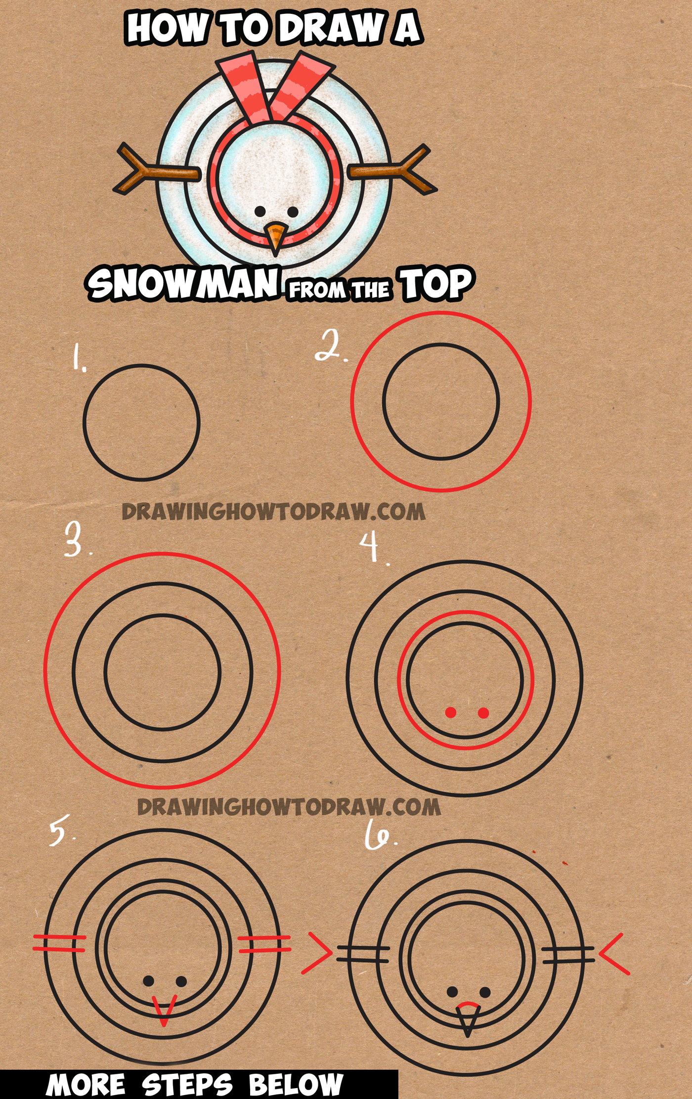Learn How to Draw Snowman from Above - with Simple Steps Drawing Lesson for Kids