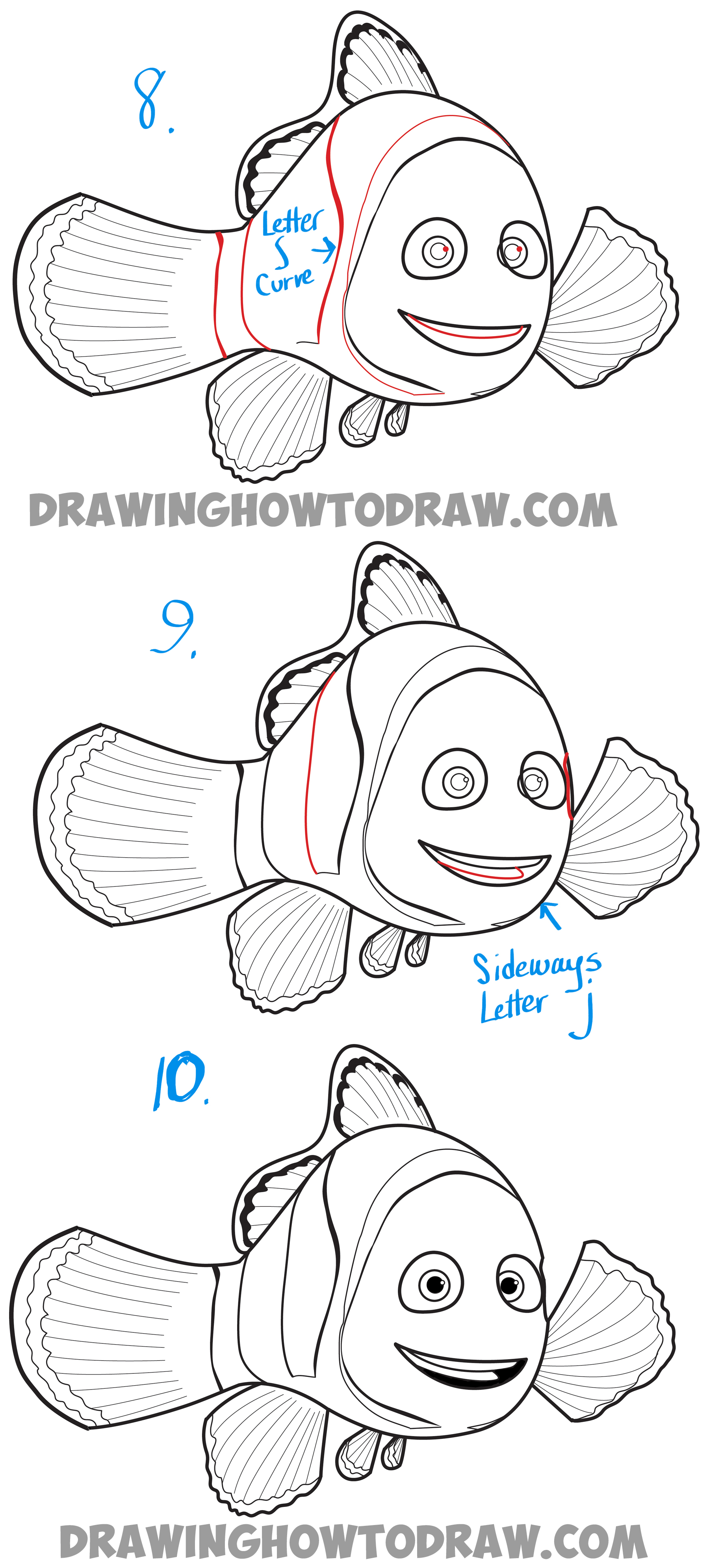 How to Draw Marlin from Finding Dory and Finding Nemo - Easy Step by Step Drawing Tutorial