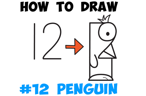 Learn How to Draw Cartoon Penguins from #12 - Simple Steps Drawing Lesson for Kids