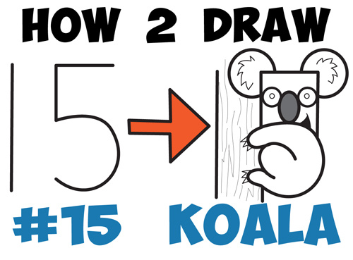 How To Draw A Cartoon Koala Bear From The Number 15 Easy Drawing