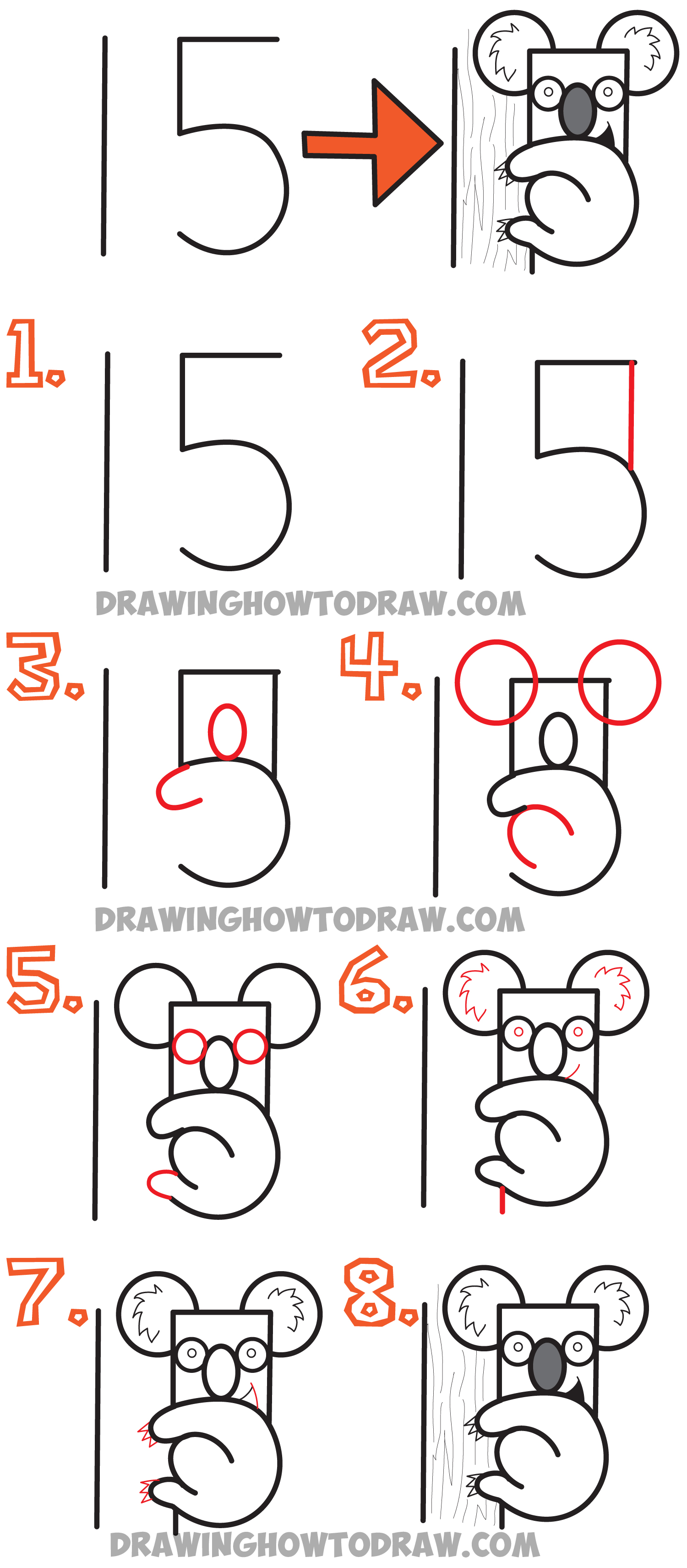 How to draw a cartoon koala bear from the number 15 easy for How to make cartoon drawings step by step