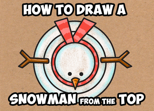 learn how to draw cartoon snowmen from above - lesson for children