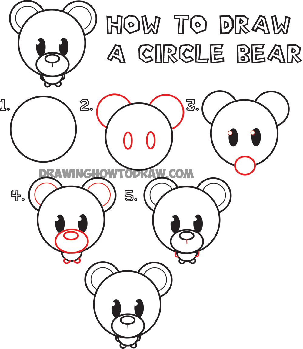 How to Draw a Cute Cartoon Circle Bear