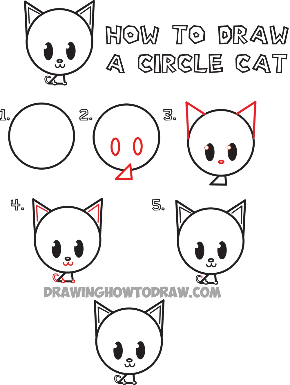 big guide to drawing cute circle animals easy step by step drawing tutorial for kids how to. Black Bedroom Furniture Sets. Home Design Ideas