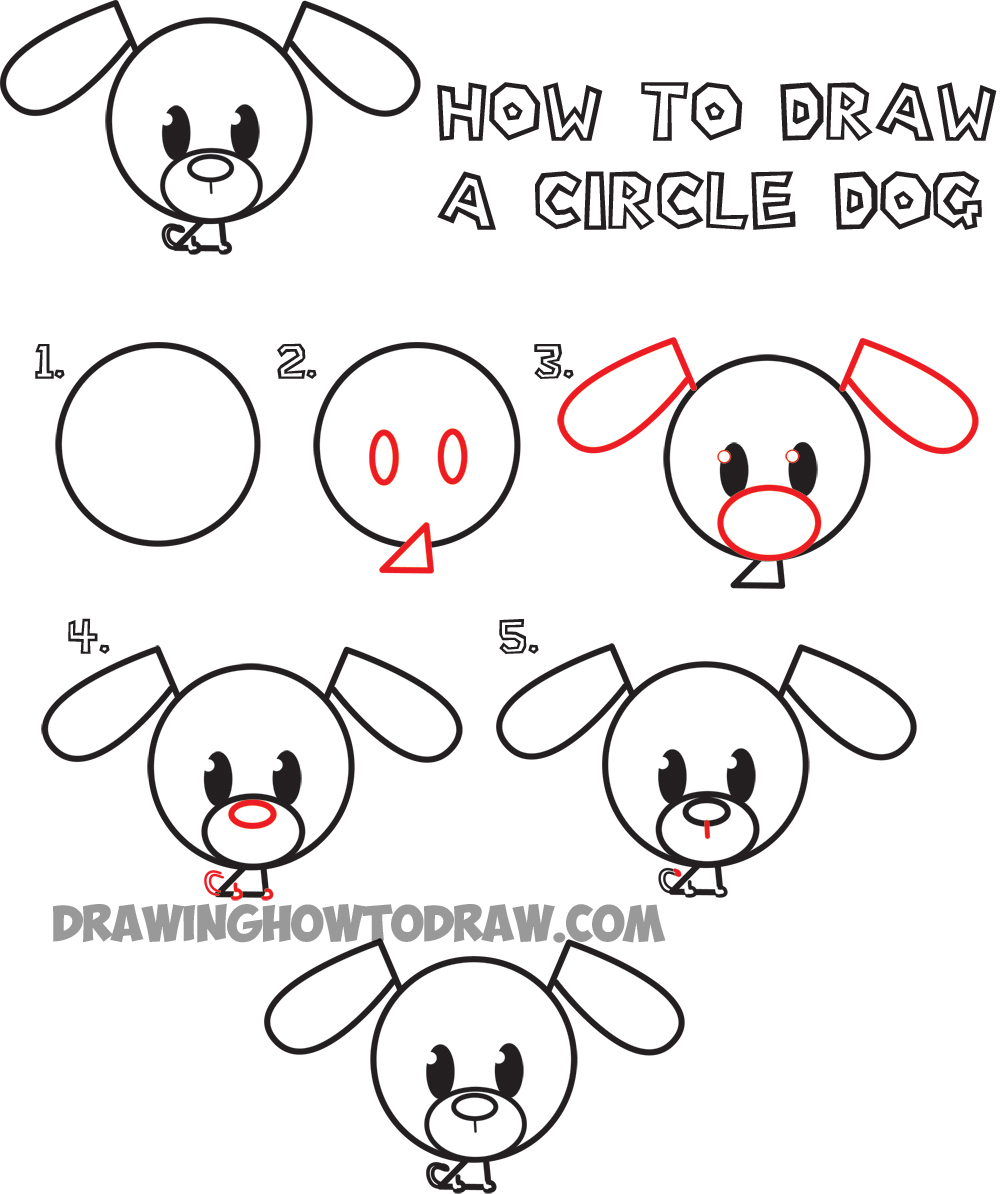 Big Guide to Drawing Cute Circle Animals Easy Step by Step ...
