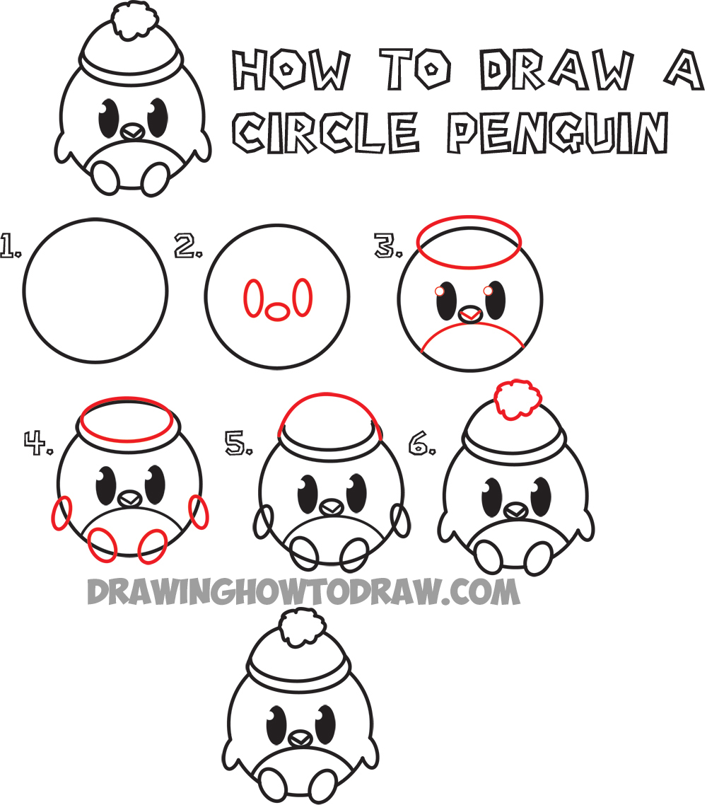 How to Draw Cute Cartoon Circle Penguin