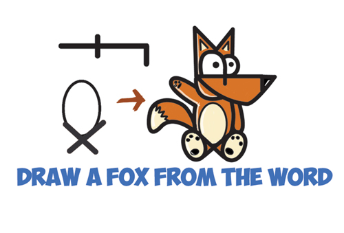 Learn How to Draw a Cartoon Fox from the Word Fox - Simple Steps Drawing Leasson Word Cartoon