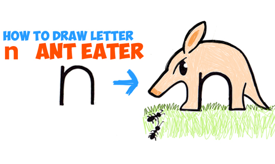how to draw cartoon ant eaters and ants letter animals