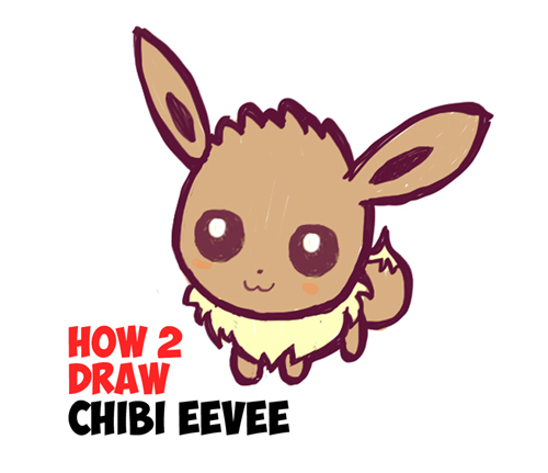 learn how to draw cute chibi eevee from pokemon in simple steps