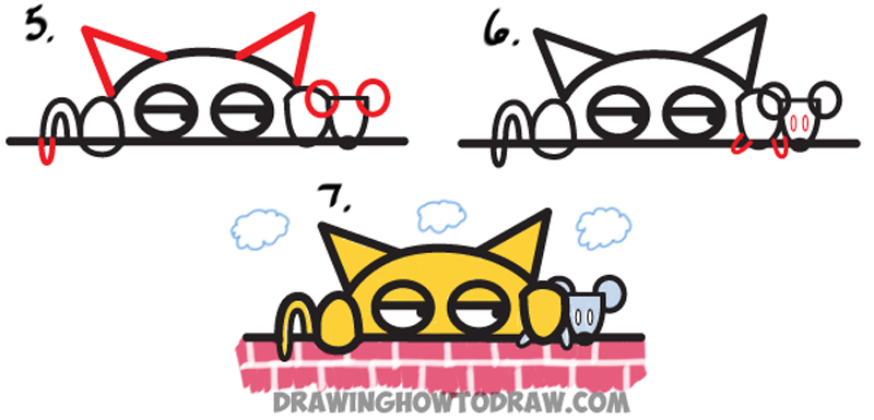 How to Draw Cartoon Cat Catching Mouse from the Word Meow