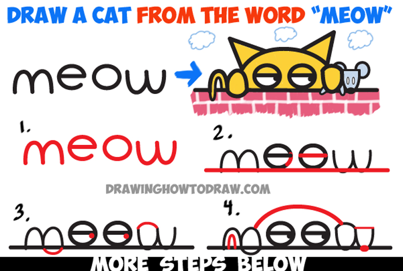 Learn How to Draw Cartoon Cat Catching Mouse from the Word Meow - Easy Word Toons