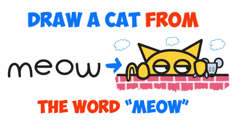 cartoon cat and mouse meow word toons drawing lesson for kids
