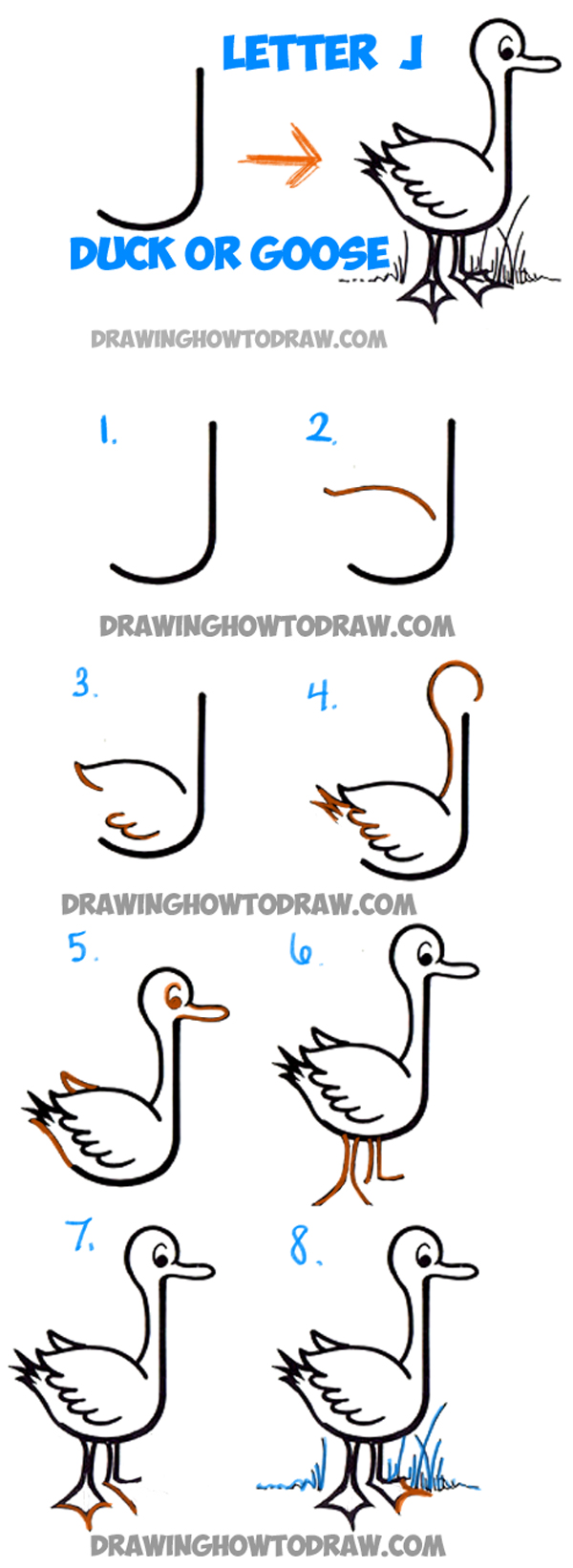 how to draw cartoon goose or duck from letter j shape easy step