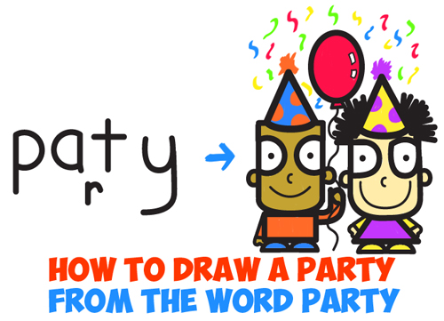 learn how to draw cartoon party from the word