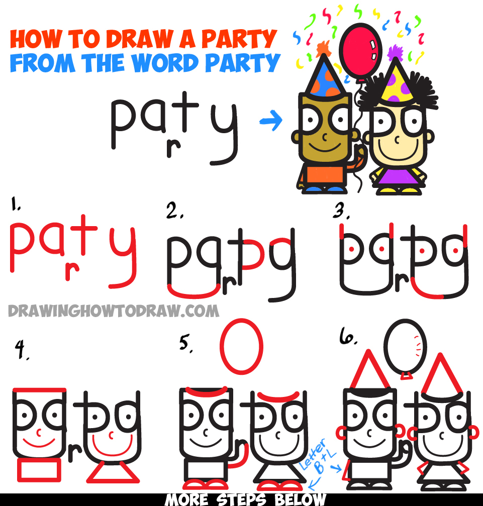 """Learn How to Draw Cartoon Kids Partying from the Word """"Party"""" in Simple Step by Step Drawing Tutorial for Kids"""