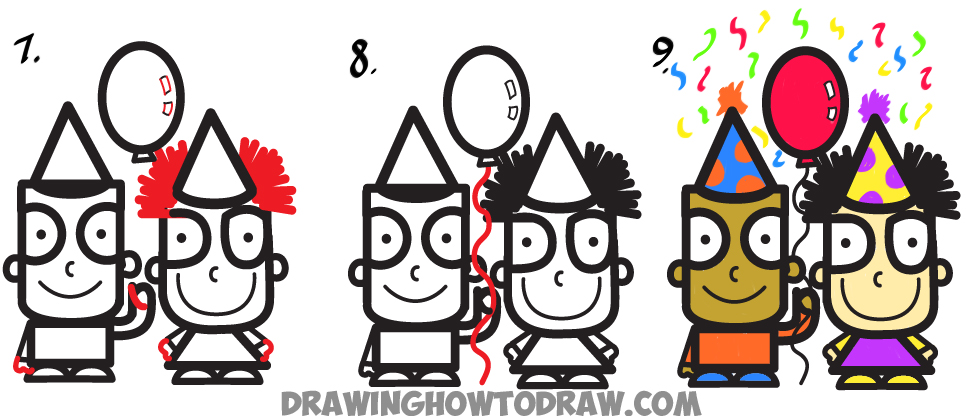 """How to Draw Cartoon Kids Partying from the Word """"Party"""" in Easy Steps"""