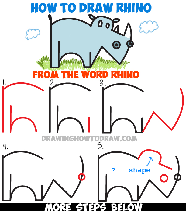 Learn How to Draw a Cartoon Rhinoceros from the Word Rhino - Simple Step by Step Drawing Tutorial for Kids