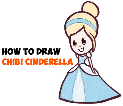 How to draw cute baby chibi Cinderella Disney Princesses