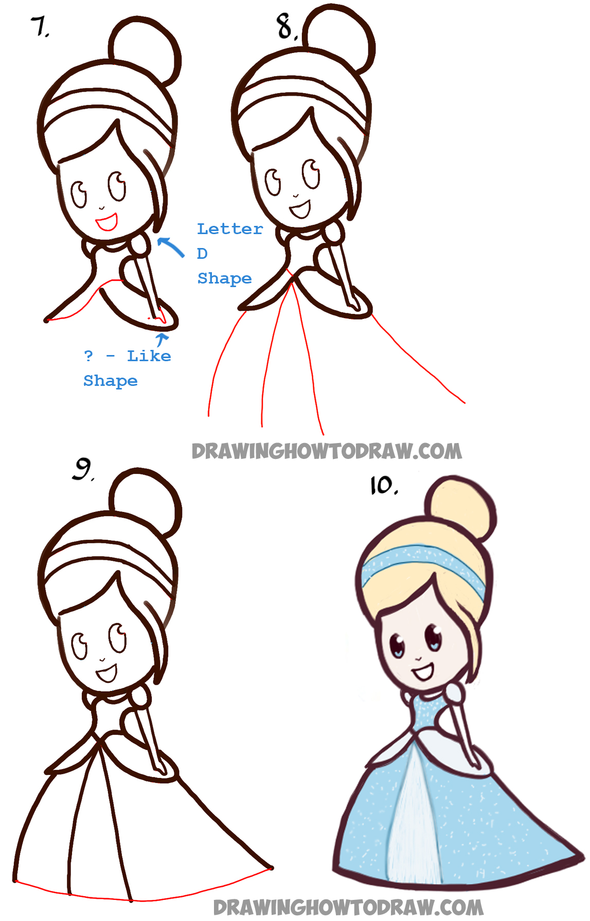 How to Draw Cute Baby Chibi Cinderella - Easy Step by Step Drawing Tutorial