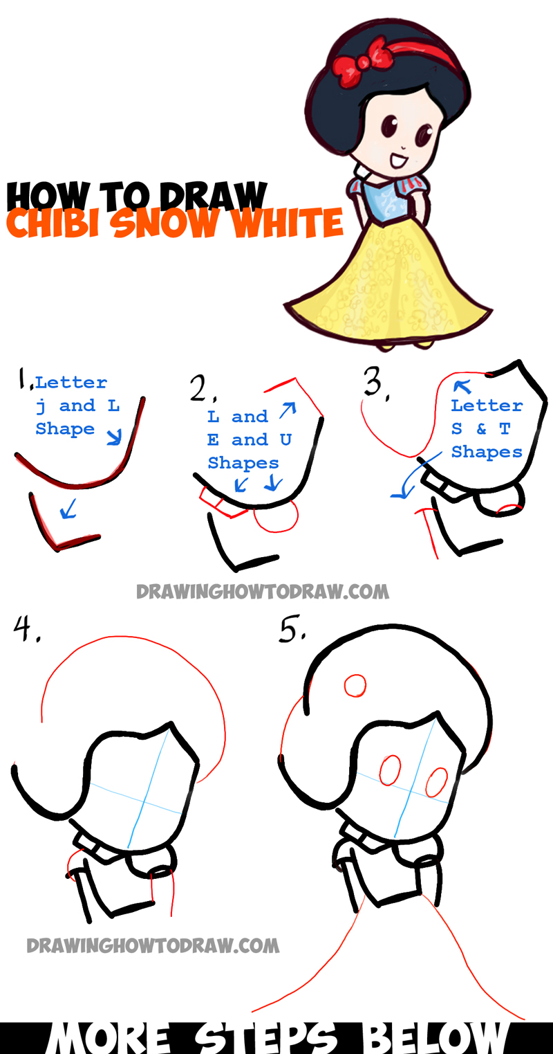 How to draw cute baby chibi snow white in simple step by for Easy things to draw for kids step by step