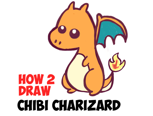 How To Draw A Cute Baby Chibi Charizard From Pokemon In Easy Steps
