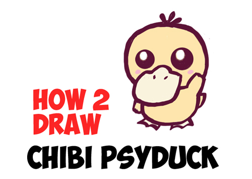 How to Draw a Cute Baby Chibi Psyduck from Pokemon in Easy Steps Lesson